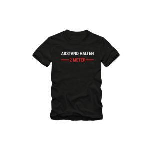 Herren T-Shirt ABSTAND HALTEN - 2 METER - Sprüche Fun Spaß Tee