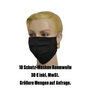 Falt-Schutz-Maske, 10 Stk. schwarz aus Baumwolle unbedruckt