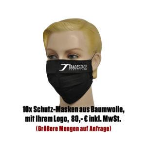 Falt-Schutz-Maske, 10 Stk. schwarz mit Logo aus Baumwolle
