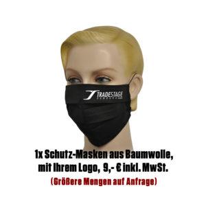 Falt-Schutz-Maske, 1 Stk. schwarz mit Logo aus Baumwolle