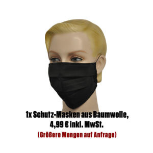Falt-Schutz-Maske, 1 Stk. schwarz aus Baumwolle unbedruckt